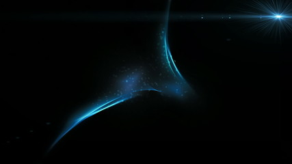 Blue elements in motion with ray of light and particles floating
