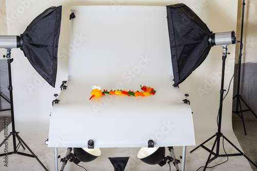 Leinwanddruck Bild Photo table for product photography in a studio