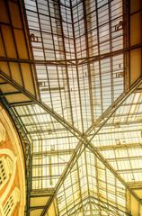 LONDON - SEPTEMBER 27, 2013: Liverpool Street station roof glass