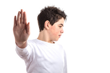 Talk to the hand gesture by smooth-skinned Caucasian teen