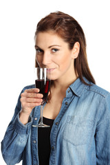 Cute woman with a wine glass