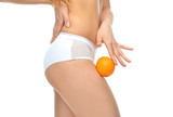 Hips legs buttocks and orange in hand cellulite liposuction woma poster