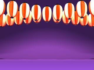 Red White Paper Lantern On Purple Background