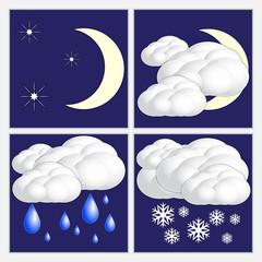 Vector abstract night  weather image set
