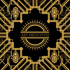 Art Deco vintage decorative frame. Retro card design vector temp