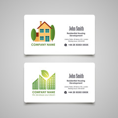 Residential housing developing or rent business card template
