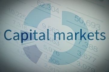 Capital markets. Financial data on a pc monitor.