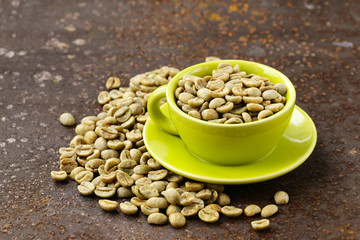 organic green coffee beans close-up, healthy food