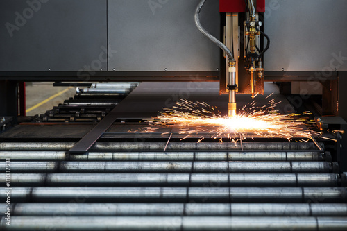 Leinwandbild Motiv Industrial cnc plasma cutting of metal plate