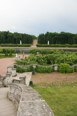 Famous ancient Peterhof fountains garden