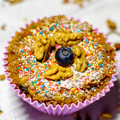 sugar free muffin with walnut and blueberry