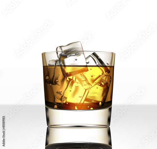 Vector glass of whiskey with ice - 81089183