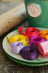 Set of colorful ribbons and wrapping paper