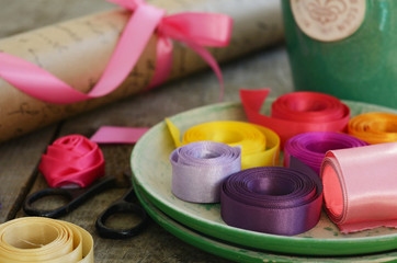 Colorful ribbons and wrapping paper for floristics and decor
