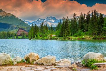 Alpine mountain lake in Vysoke Tatry,Strbske Pleso,Slovakia