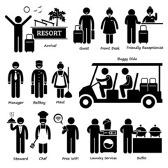 Resort Villa Hotel Tourist Worker and Services Cliparts