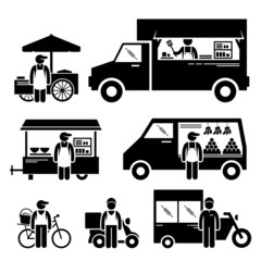 Mobile Food Vehicles Transportation Cliparts