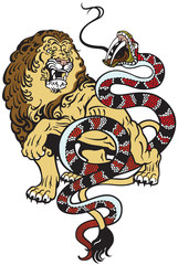 lion and snake