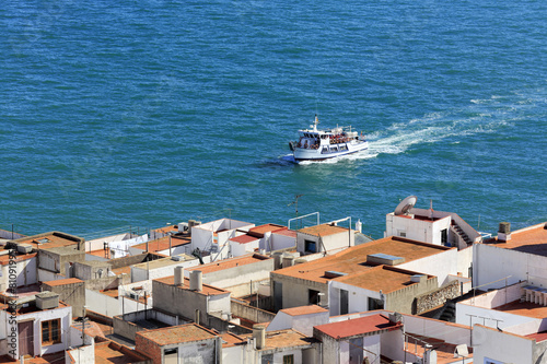 Mediterranean sea and yacht, Peniscola, Valencian Community