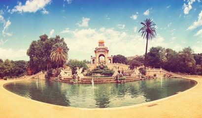 Ciutadella park Fountain in Barcelona. Retro tone