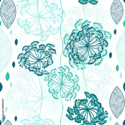 Fototapeta Seamless pattern of abstract flowers. Hand-drawn floral backgrou