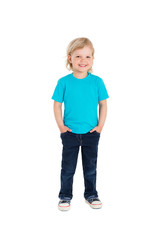 Smiling little girl in blue t-shirt isolated on a white backgrou