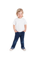 Smiling little girl in white t-shirt isolated on a white backgro
