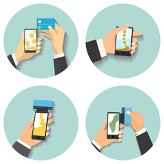 Flat design style vector illustration. Smartphone with processin