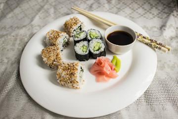 rolls on a white plat