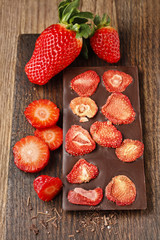 Bar of chocolate with dried strawberries