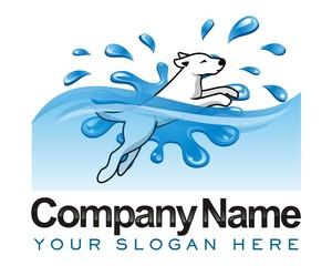 dog splash water image logo vector