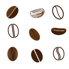 Nine coffee beans in different styles.