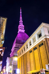 Pink light on the Mole Antonelliana, Turin