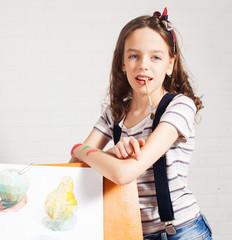 Cheerful child artist