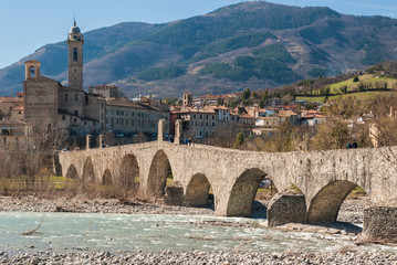 Panorama of Bobbio, ancient town in the north of Italy