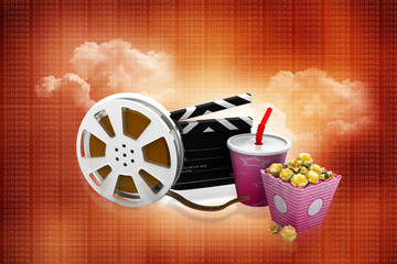 3d illustration of film slate, movie reel, popcorn