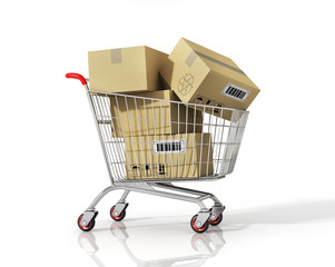 Shopping cart with boxes on white isolated background.
