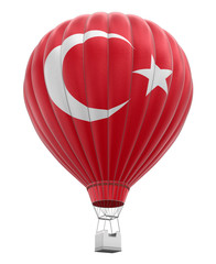 Hot Air Balloon with Turkish Flag (clipping path included)