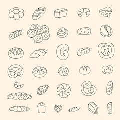 Set of sketch bakery items. Vector illustration
