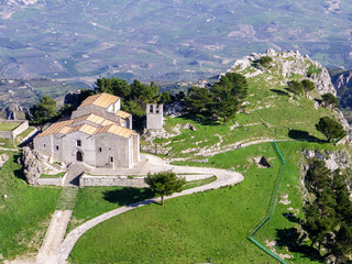Aerial view of a church in a small village of Sicily