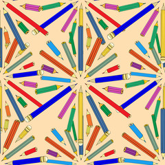 Seamless pattern with colored pencils