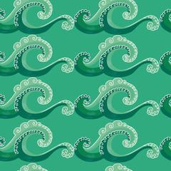 seamless pattern. decorative wave. green