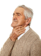 Old man with sore throat