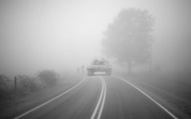Tank in the fog