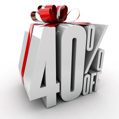 40 Percent off sign wrapped up with red ribbon and bow