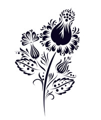 Vector ethnic flower, floral ornament