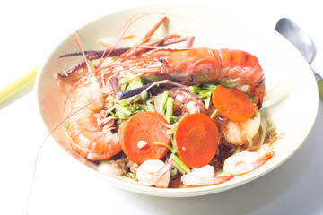 close up shrimp , baked with vermicelli
