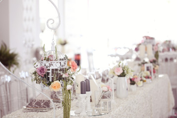 Flowers and wedding table beautifully decorated