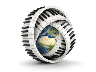 Globe and Piano keys (clipping path included)