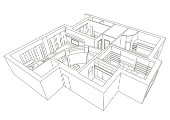 linear architectural sketch flat 3D